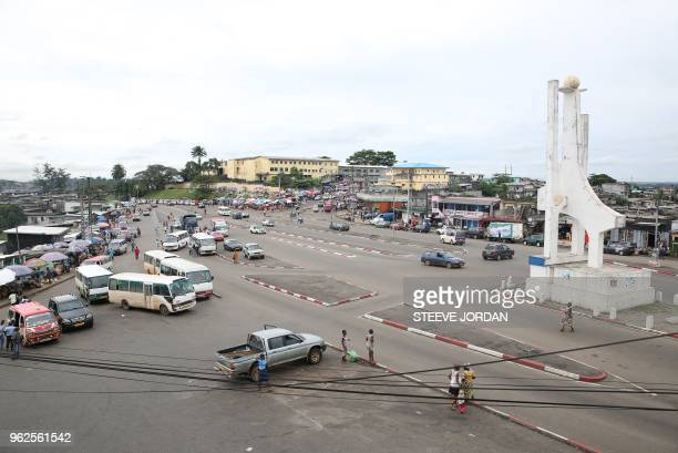 A picture taken on May 24 2018 shows the district of Rio in Libreville The tolibangando slang used in the popular districts of Libreville illustrates...