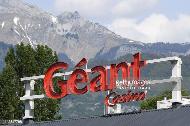 A picture taken on May 24 2019 in Albertville in the French Alps shows a logo of retailer Casino after the parent company filed for bankrupcy...