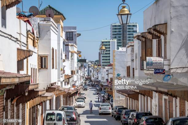 Picture taken on May 24, 2020 shows a deserted street in Rabat, as the country is under lockdown to stop the spread of the Covid-19 disease caused by...