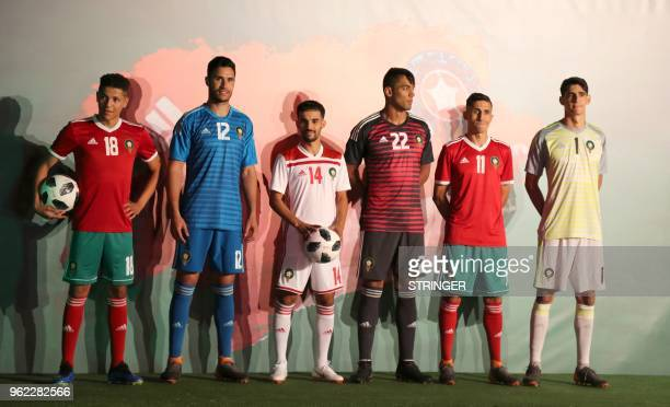 A picture taken on May 24 shows Moroccan national football team midfielder Amine Harit sporting the new national team home kit goalkeeper Munir...