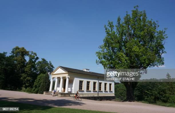 A picture taken on May 25 2018 shows a view of the Roman house at the Ilm park in Weimar Germany