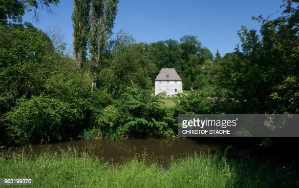 A picture taken on May 25 2018 shows a view of the summer house of the former German poet Johann Wolfgang von Goethe at the Ilm park in Weimar Germany
