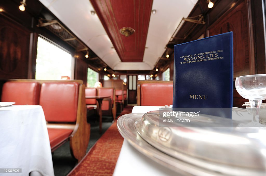 Picture taken on May 27, 2010 at La Ferte-Saint-Aubin, central France, of a train dining-car built in 1928, which was once part of the famous Orient-Express train. The car will auctionned off with another one, a sleeping-car built in 1949, on June 5 and 6. The Orient Express was the name of a long-distance passenger train originally operated by the Compagnie Internationale des Wagons-Lits between Paris and Istanbul. Although it was simply a normal international railway service, the name became synonymous with intrigue and luxury travel.