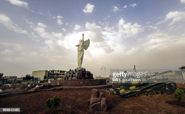 Picture taken on May 27, 2018 shows a view of the Kurdish resistance monument , a statue dedicated to the female fighters who fought for the...