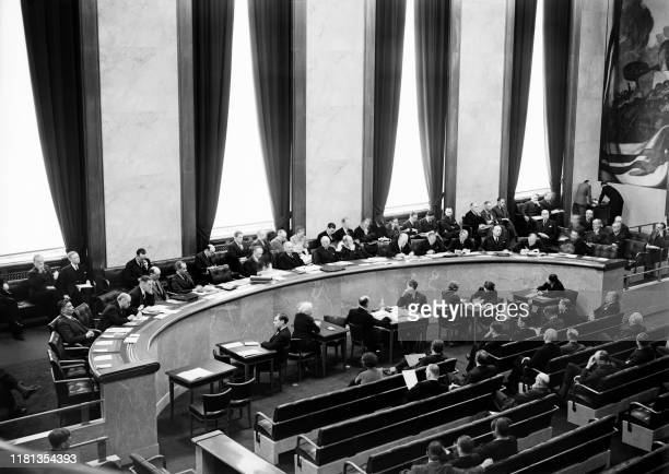Picture taken on May 28, 1939 at Geneva showing the General Assembly session of the League of nations.
