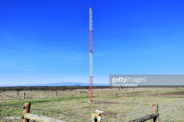 A picture taken on May 28 2019 shows an antena rigged for realtime transmission of images from a mounted camera standing on the edge next to an...