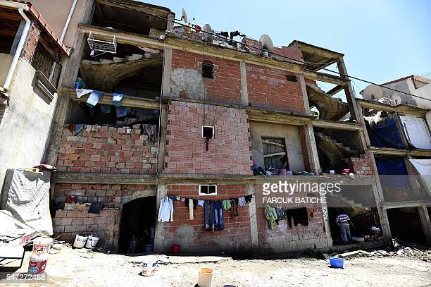 A picture taken on May 29 2016 shows a makeshift building where SubSaharan migrants live in impoverished conditions in the Algerian capital Algiers...