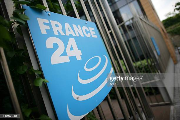 Picture taken on May 3, 2011 in Issy-Les-Moulineaux, a south-western Paris suburb, shows the logo of French International news TV channel France 24...