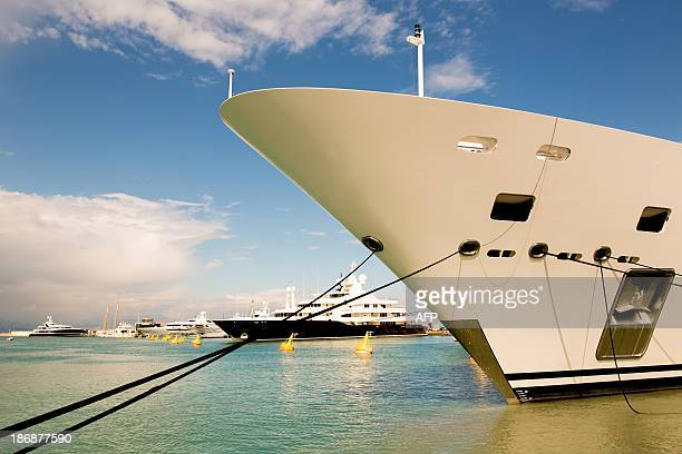 A picture taken on May 3 2013 shows luxury yacht Katara owned by the Sheikh Hamad bin Khalifa alThani Emir of Qatar mooring at the Quai des...