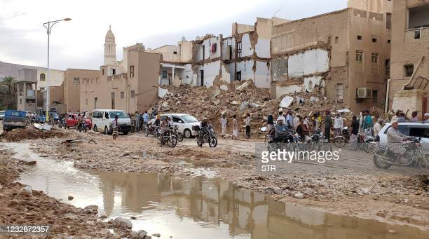 Picture taken on May 3 the aftermath of flash floods in the city Tarim in Yemen's central province of Hadramawt. - Four people have been killed in...