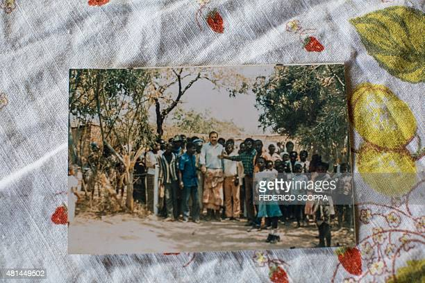 Picture taken on May 30, 2015 in Kolwezi shows an old picture of Willem Boulanger, a Belgian living in Democratic Republic of Congo, when he received...
