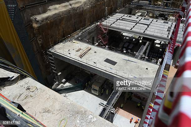 A picture taken on May 4 2016 shows a construction site of a section of the Saudi capital Riyadh's $225 billion metro system The system which will...