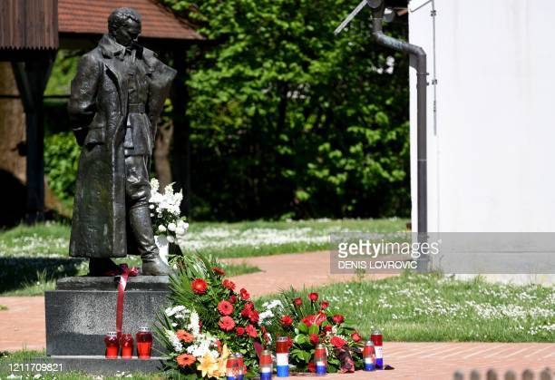 Picture taken on May 4, 2020 shows a monument dedicated to Tito, a statue by Croatian sculptor Antun Augustincic of Josip Broz Tito , former...