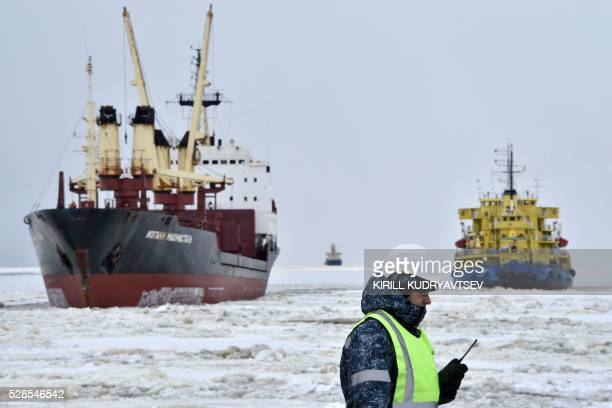 A picture taken on May 5 2016 shows the icebreaker Tor at the port of Sabetta in the Kara Sea shore line on the Yamal Peninsula in the Arctic circle...
