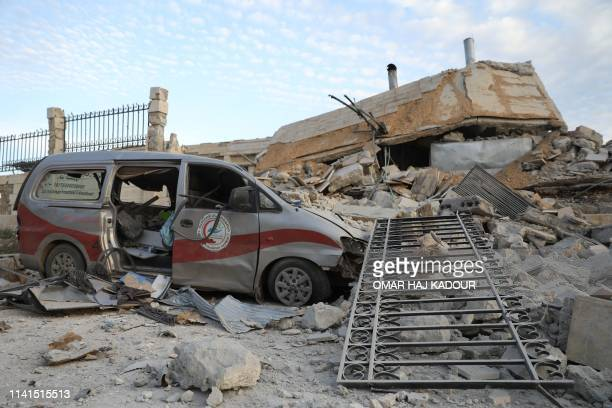 A picture taken on May 5 2019 shows destruction at the entrance of a hospital in the village of Kafr Nabl south of the jihadistheld Syrian province...