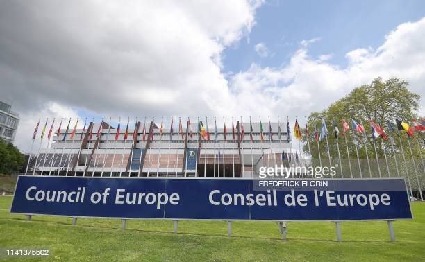 Picture taken on May 5, 2019 shows flags during the open day marking the 70th Anniversary of the Council of Europe at the in Strasbourg, northeastern...