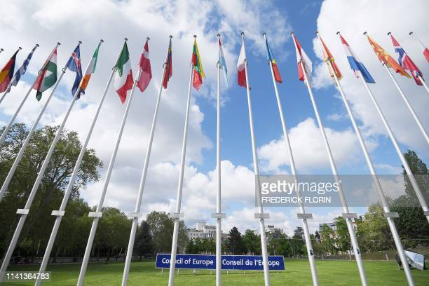 Picture taken on May 5, 2019 shows national flags during the open day marking the 70th Anniversary of the Council of Europe at the in Strasbourg,...