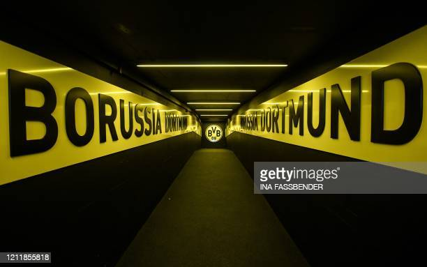 Picture taken on May 5, 2020 in Dortmund, western Germany, shows a view of the players tunnel at the Signal Iduna Park of German first division...