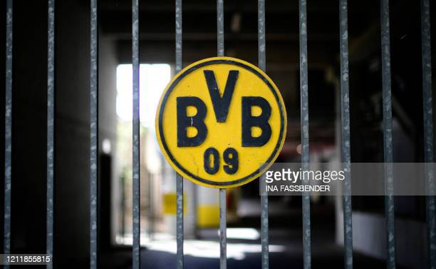 A picture taken on May 5 2020 in Dortmund western Germany shows the logo of German first division Bundesliga football club Borussia Dortmund at the...