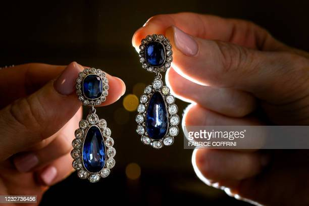 Picture taken on May 5, 2021 shows an early 19th-century sapphire and diamond earrings circa 1800, made with pear and cushion-shaped sapphires and...