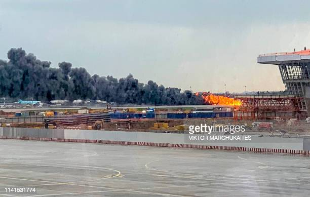 A picture taken on May 5 shows a fire of a Russianmade Superjet100 at Sheremetyevo airport outside Moscow The Interfax agency reported that the plane...