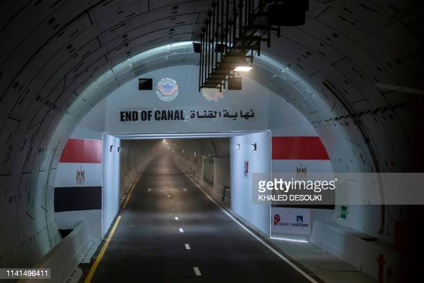 Picture taken on May 5 shows the end of the newly opened tunnel, which runs under the Suez Canal, in Ismailia city east of Cairo.