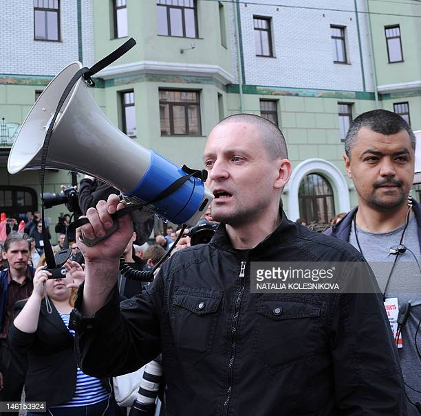 Picture taken on May 6, 2012 shows Russian opposition leader Sergey Udaltsov as he attends an opposition's protest rally in Moscow. Armed police...