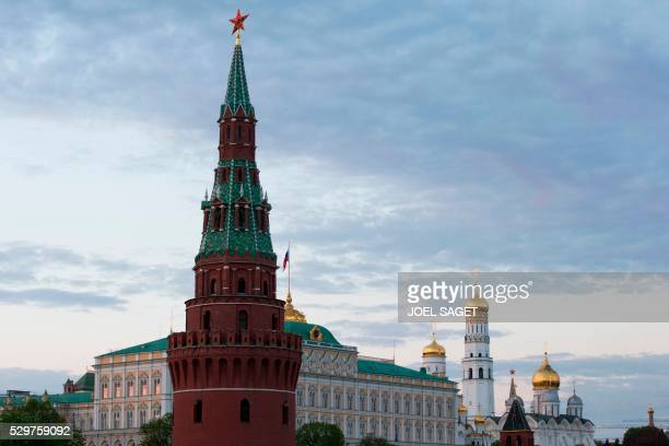 Picture taken on May 6, 2016 in Moscow shows the Great Kremlin Palace and The Ivan the Great Bell Tower the tallest of the towers in the Moscow...