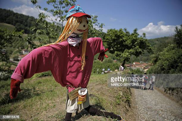A picture taken on May 6 2016 shows a scarecrow displayed on a path during a Scarecrows Fair in Castellar Italy's northern village near Cuneo During...