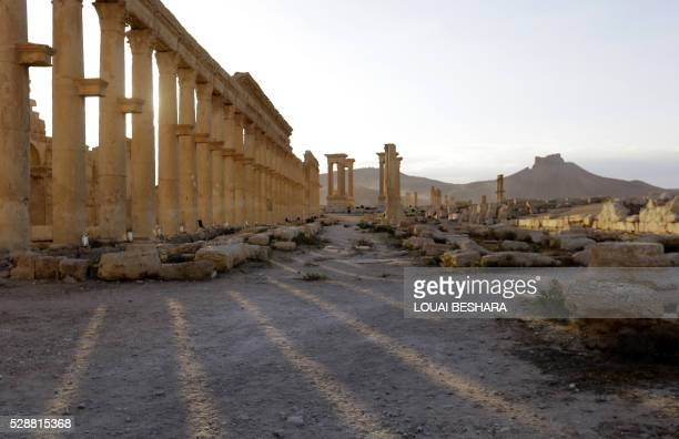 A picture taken on May 6 2016 shows the remains of the Triumph's Arch also called the Monumental Arch of Palmyra in the ancient city of Palmyra in...