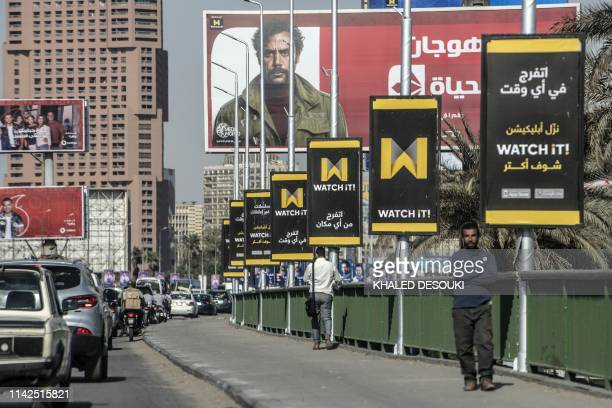 "Picture taken on May 7, 2019 shows billboards advertising ""Watch iT"", Egypt's first video-streaming app, in the capital Cairo. - The video-streaming..."