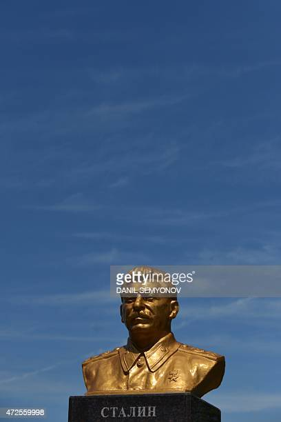 A picture taken on May 8 2015 shows a monument to Soviet leader Joseph Stalin in the town of Svetlograd some 83km of Stavropol Since President...