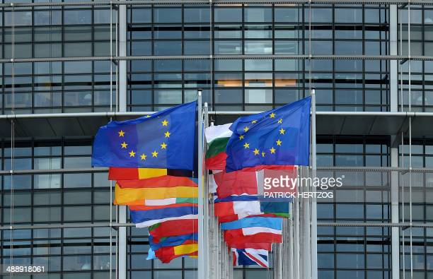 A picture taken on May 9 2014 shows European flags in front of the European Parliament in Strasbourg eastern France The European elections will be...