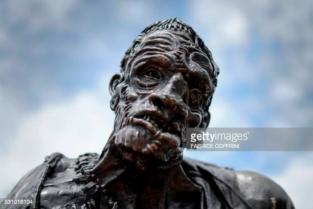 A picture taken on May 9 2016 shows a statue of Frankenstein's monster in Geneva Frankenstein the story of a scientist who brings to life a cadaver...