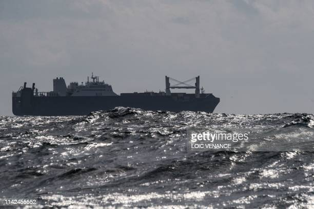 A picture taken on May 9 2019 off the northern port of Le Havre shows Saudi cargo ship Bahri Yanbu waiting to enter the port of Le Havre French...