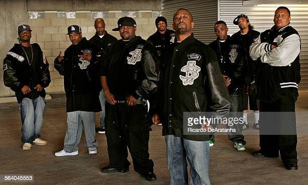 Picture taken on Monday Los Angeles CA – LT–RT Bam Loco Borilla Boo Squeak Ru Mike Mike G–Cell Tyson Red Rum and Robert Lewis the President of...