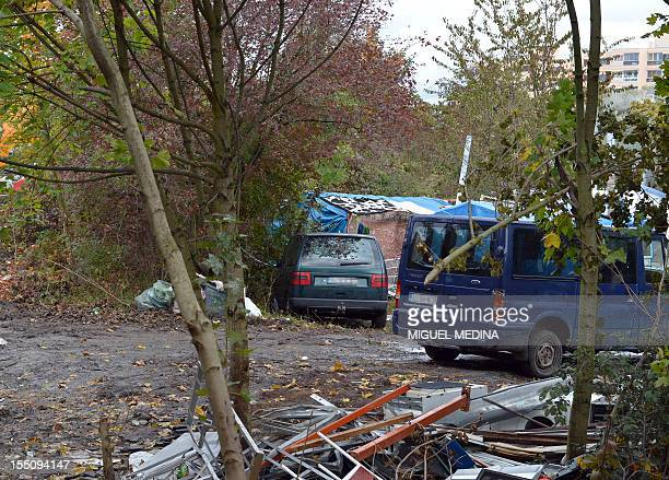 A picture taken on November 1 2012 shows a part of a Roma camp near the site in NoisyleGrand near Paris where two Roma teenagers traveling on one...