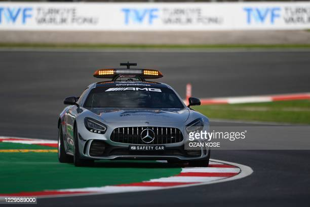 Picture taken on November 12, 2020 in Istanbul shows a safety car touring the track of Istanbul Park. - The Formula One Grand Prix of Turkey will...
