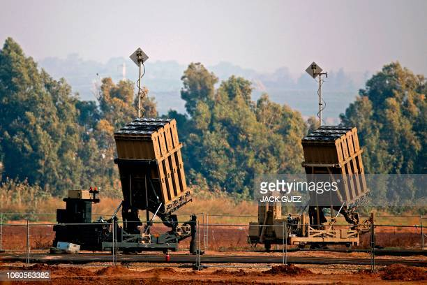 Picture taken on November 12 shows an Iron Dome defence system, designed to intercept and destroy incoming short-range rockets and artillery shells,...