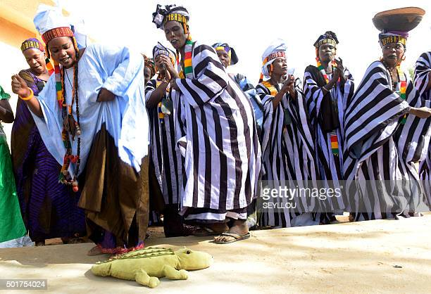 A picture taken on November 13 2015 shows women from the Thiouballo tribe dancing and singing during the visit of the French Ambassador to Senegal in...