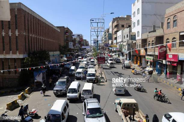 Picture taken on November 13, 2018 in Yemen's third city Taez shows traffic in one of the main avenues in the southwestern city. - The United...