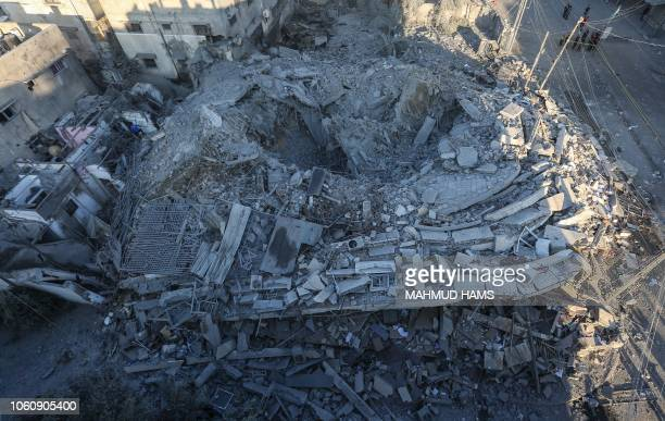 TOPSHOT A picture taken on November 13 shows a building housing the Hamas Internal Security offices that was targeted overnight by an Israeli air...