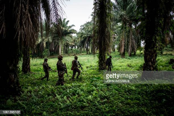 TOPSHOT A picture taken on November 13 shows Tanzanian soldiers from the United Nations Organization Stabilization Mission in the Democratic Republic...
