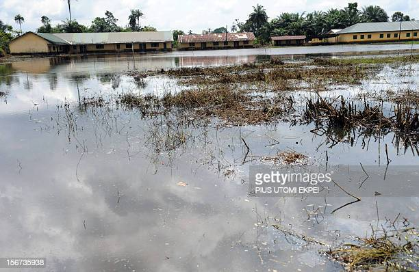 Picture taken on November 15 2012 shows a government secondary school at Elebele in Ogbia district closed following the ravaging flood in Bayelsa...