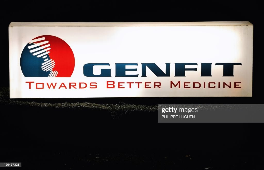 A picture taken on November 15, 2012 shows a logo of French biopharmaceutical company Genfit in Loos, northern France, specialised in the development of innovative therapeutic and diagnostic solutions for prevention and treatment of cardiometabolic disease and related disorders.