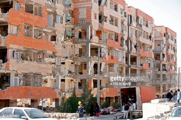 A picture taken on November 15 2017 shows a view of the buildings left damaged by a 73magnitude earthquake that struck days before in the town of...