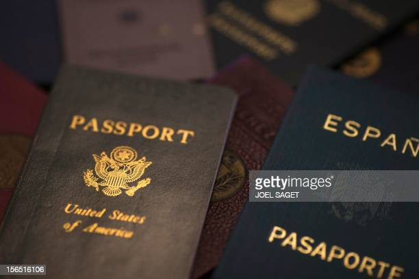 A picture taken on November 16 2012 in Paris shows fake passports at Argentina's born and French photographer Adolfo Kaminsky's home Born in a Jewish...