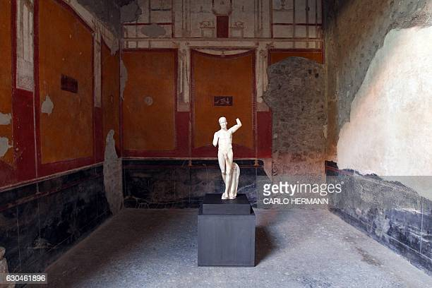 A picture taken on November 16 2016 shows a satyr statue in the Vettii's House that reopened to public after its restoration in the archaeological...