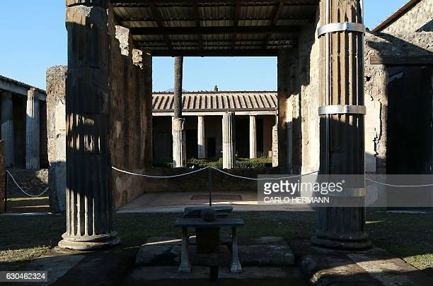 A picture taken on November 16 2016 shows the Labyrith House that reopened to public after its restoration in the archaeological area of Pompeii The...