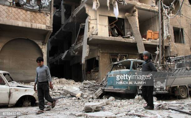 Picture taken on November 17, 2017 shows a general view of the destruction following reported shelling by Syrian government forces, in the rebel-held...